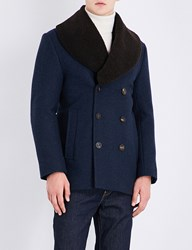 Kent And Curwen Nicholson Double Breasted Wool Blend Peacoat Navy Melange