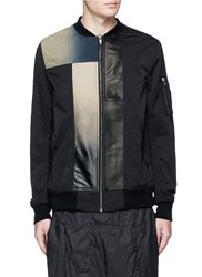 Rick Owens Leather Denim Patchwork Flight Jacket Black