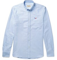 Maison Kitsune Slim Fit Cotton Oxford Shirt Blue