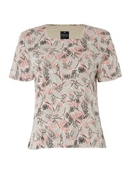 Tigi Short Sleeve Leaf Print Square Neck Top Cream