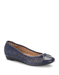Sofft Selima Ii Perforated Leather Flats Blue