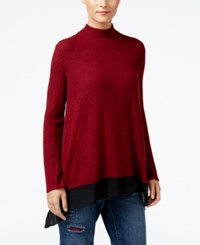 Styleandco. Style Co. Petite Chiffon Hem Mock Neck Top Only At Macy's New Red Amore