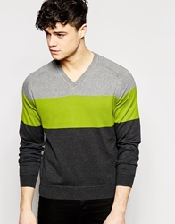 Dkny V Neck Jumper Colour Block Grey