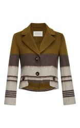 Carolina Herrera Notch Collar Striped Jacket Green