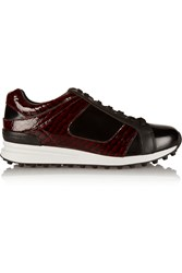 3.1 Phillip Lim Trance Snake Print Patent Leather Sneakers Red