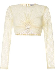 Alice Mccall On On Lace Cropped Top White