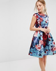 Closet London Satin Floral Print Sleeveless Skater Dress Multi