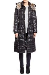 Women's Laundry By Design Quilted Coat With Faux Fur Lined Hood Black