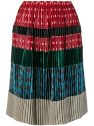 Jean Paul Gaultier Vintage Pleated Patchwork Skirt Multicolour