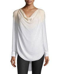 Haute Hippie Long Sleeve Cowl Neck Blouse Buff Swan