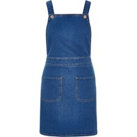 River Island Womens Bright Blue Denim Dungaree Pinafore Dress