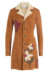 Red Valentino Shearing Coat With Leather Patchwork Brown