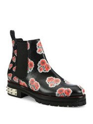 Alexander Mcqueen Floral Print Leather Chelsea Booties Black Enamel