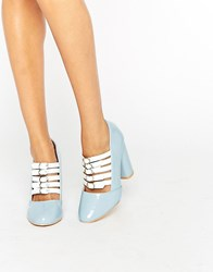 Daisy Street Multi Buckle Heeled Shoes Pale Blue Patent Whi