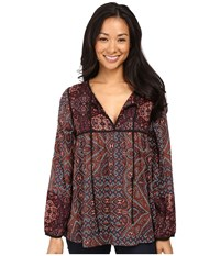 Sanctuary Patchwork Belle Blouse World Tapestry Decoratif Women's Blouse Brown