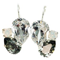 Isabella Tropea Crystal Pear Cluster Earrings Black Diamond And Clear Silver