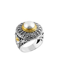 Konstantino Silver And 18K Floral Filigree Pearl Ring Women's