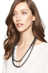 Women's St. John Collection Two Tone Faux Pearl Double Strand Necklace Ruthinium Dark Pearl
