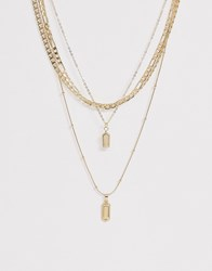 Pieces Multi Chain Pendant Necklaces In Gold