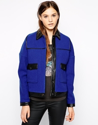 American Retro Gustave Collared Jacket With Contrast Pockets Blue