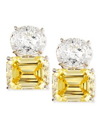 White Oval And Canary Emerald Cut Stud Earrings Fantasia By Deserio Canary Clear