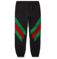 Gucci Tapered Striped Shell Trousers Black