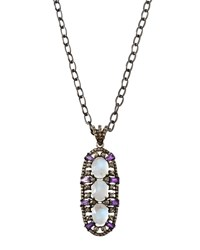 Bavna Moonstone And Amethyst Pendant Necklace