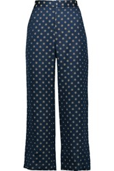 Suno Cropped Jacquard Wide Leg Pants Storm Blue