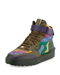 Valentino Camouflage Crystal Leather High Top Sneaker D91
