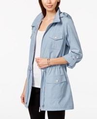 Styleandco. Style And Co. Sport Cinch Waist Hooded Anorak Only At Macy's Light Chambray