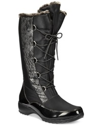 Sporto Predator Lace Up Faux Fur Cold Weather Boots Women's Shoes Black
