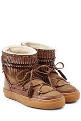 Inuikii Ikkii Suede And Leather Boots With Shearling Brown