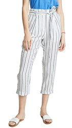 Moon River Striped Trousers Navy Blue