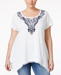 Styleandco. Style And Co. Plus Size Embroidered Handkerchief Hem Top Only At Macy's Independent Winter White