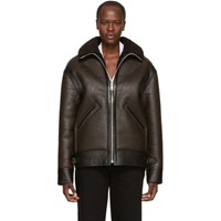 Christophe Lemaire Brown Shearling Flight Jacket