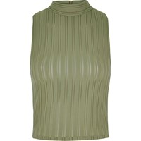 River Island Womens Khaki '90S Ribbed Turtle Neck Crop Top