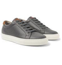 Brunello Cucinelli Suede Trimmed Full Grain Leather Sneakers Gray