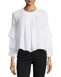 Neiman Marcus 3 Tier Sleeve Blouse White