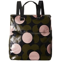 Orla Kiely Shiny Laminated Shadow Flower Print Backpack Forest Green