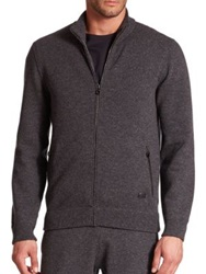 Salvatore Ferragamo Full Zip Cashmere Sweater Navy Grey