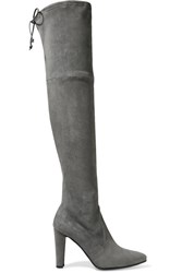 Stuart Weitzman Highstreet Stretch Suede Over The Knee Boots Gray