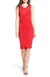 Trouve Shirred Dress Red Lipstick