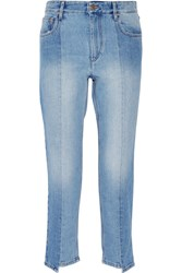 Etoile Isabel Marant Clancy Cropped High Rise Straight Leg Jeans Light Denim