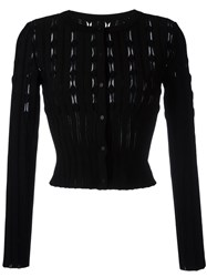 Alaia Sheer Panel Knit Cardigan Black