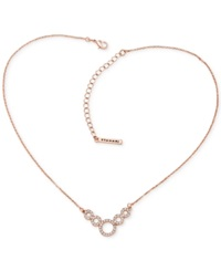 T Tahari Rose Gold Tone Crystal Squiggle Circle Pendant Necklace