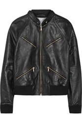 Band Of Outsiders Leather Bomber Jacket Black