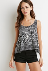 Forever 21 Tribal Print Tulip Back Tank Black Cream