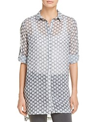 Kenneth Cole Dot Print Button Down Tunic Frosty Dot