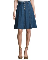 Moon River Button Front Denim Midi Skirt Indigo
