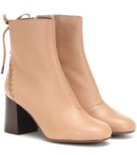 See By Chloe Reese Leather Ankle Boots Pink
